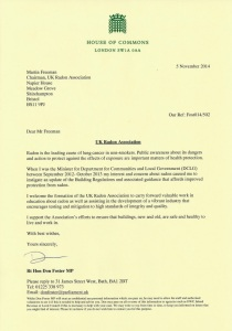 Don Foster MP Letter to UK Radon Association