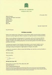 Don Foster MP Letter to UK Radon Association